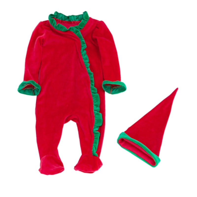 Newborn Baby Boys Chritmas Outfits Red Thicken Winter Romper+Hat 2pcs Set Roupas De Bebes Santa Clause Shaped Xmas Baby Clothes
