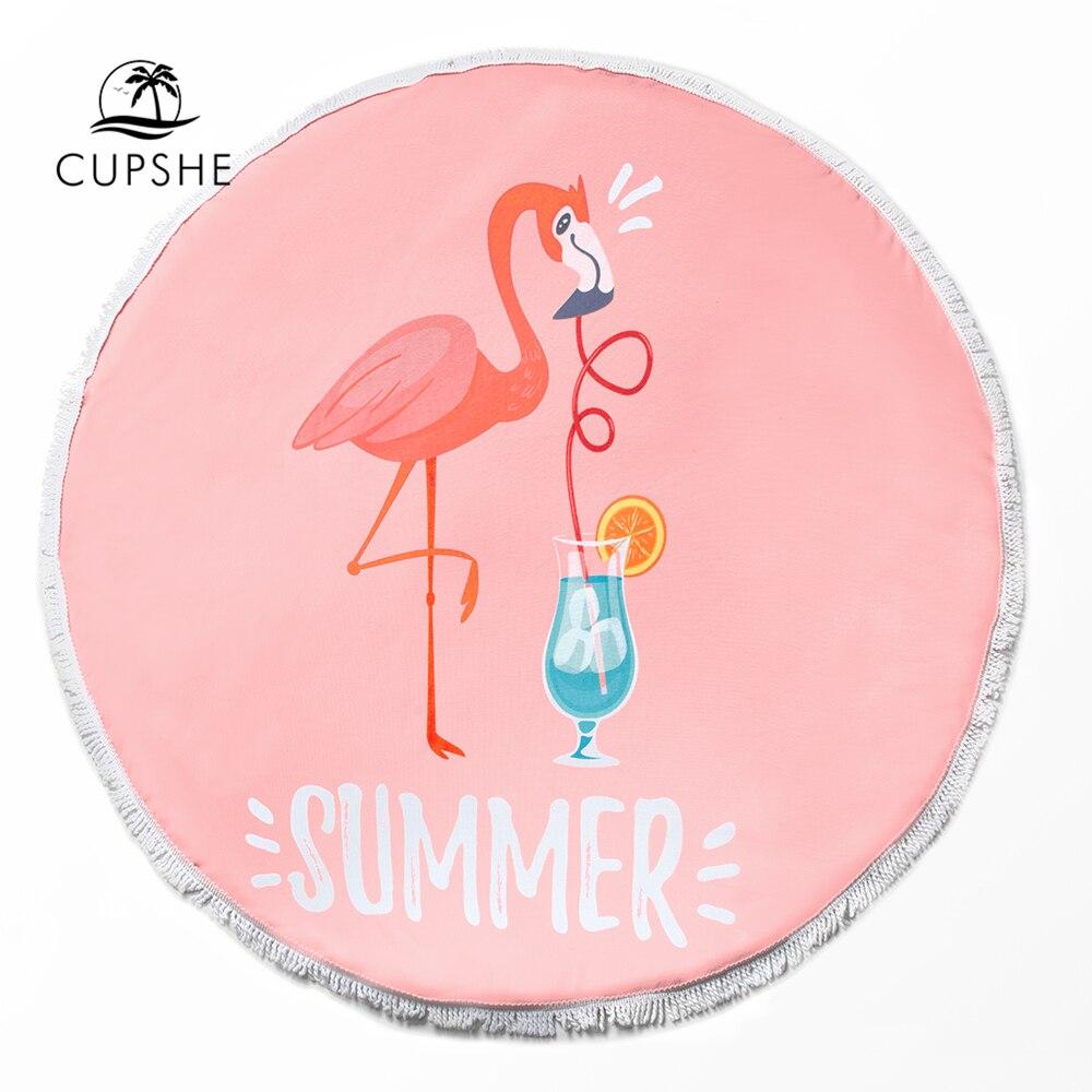 b54bf381e8 CHEAP CUPSHE 2019 Women Vocation Flamingo Round Beach Towel with Tassel |  egyptpresident2012.com