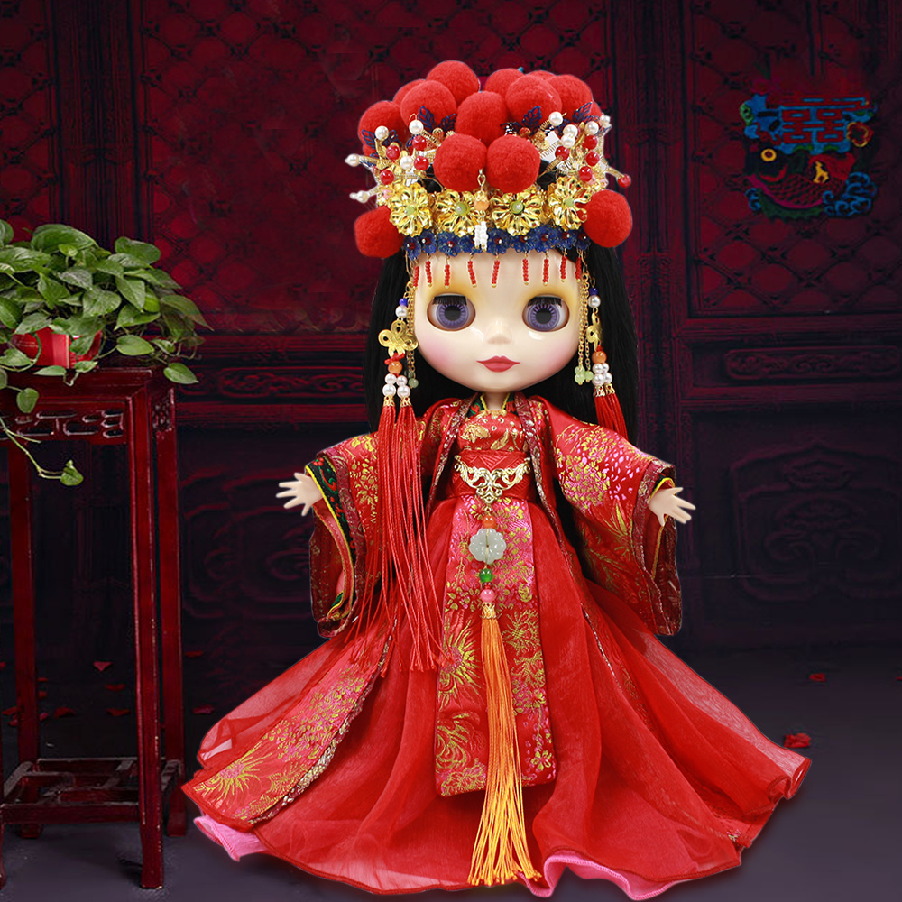 Free shipping for icy blyth doll licca body bjd 1/6 Chinese bride Phoenix crown red outfit wedding dress цена и фото