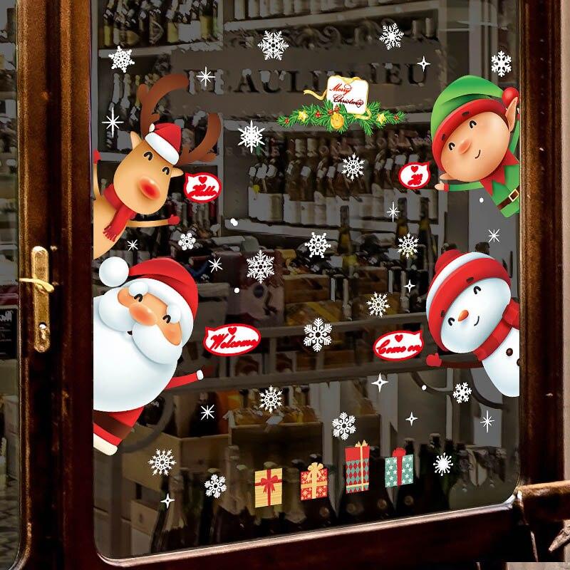 DIY Christmas Wall Sticker Living Room Xmas Santa Claus Snowman Elk Stickers Window Showcase Glass Decor Poster Decorative Films