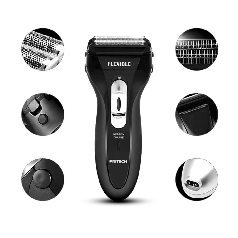 PRITECH RSM-1308 Electric Shaver Dual Mesh Blades Shaving Machine Rechargeable Floating Razor Washable Men Beard Trimmer power 3d floating rotary washable men s electric beard shaver rechargeable travel electric razor with pop up trimmer wet and dry