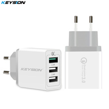 KEYSION 3 Ports Quick Charger QC 3.0 30W USB Charger For iphone XS Max XR 8 7 Plus for Samsung Huawei Xiaomi Fast Charger QC3.0 (China)