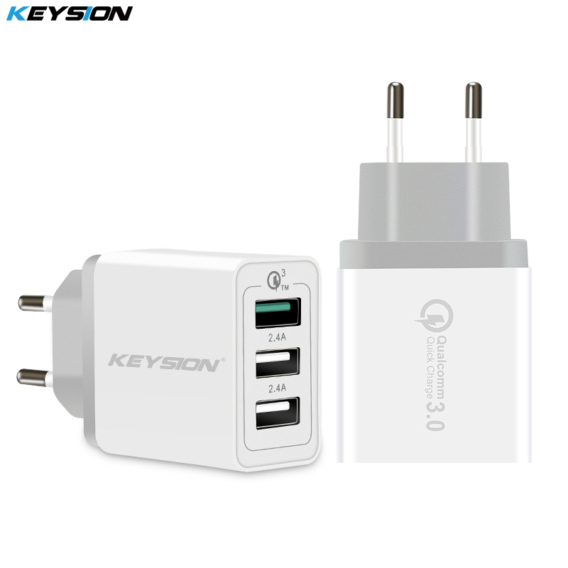 KEYSION 3 Ports Quick <font><b>Charger</b></font> QC 3.0 <font><b>30W</b></font> <font><b>USB</b></font> <font><b>Charger</b></font> For iphone XS Max XR 8 7 Plus for Samsung Huawei Xiaomi Fast <font><b>Charger</b></font> QC3.0 image