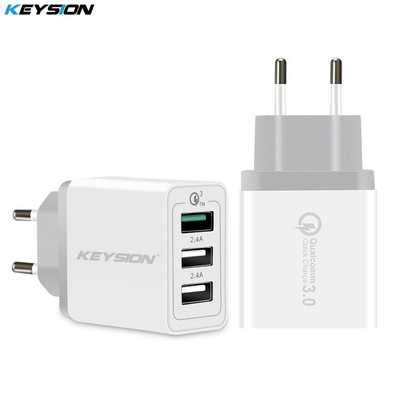 KEYSION 3 puertos cargador rápido QC 3,0 30 W cargador USB para iphone XS Max XR 8 7 Plus para Samsung Huawei Xiaomi cargador rápido QC3.0
