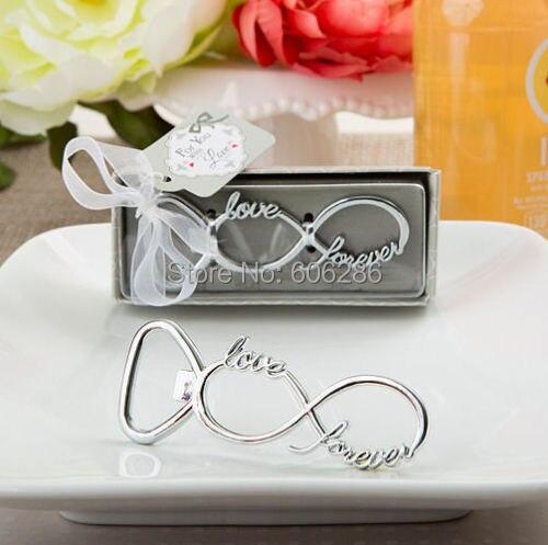 100pcslot bridal shower gifts infinity design silver metal bottle opener wedding favors souvenirs