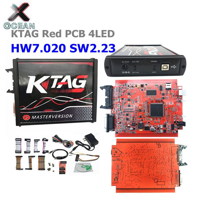 2020 Newest 4LED Red PCB KTAG V7.020 SW2.25 EU Version Unlimited Token Kess V5.017 2.53 Multi-Language Online Version