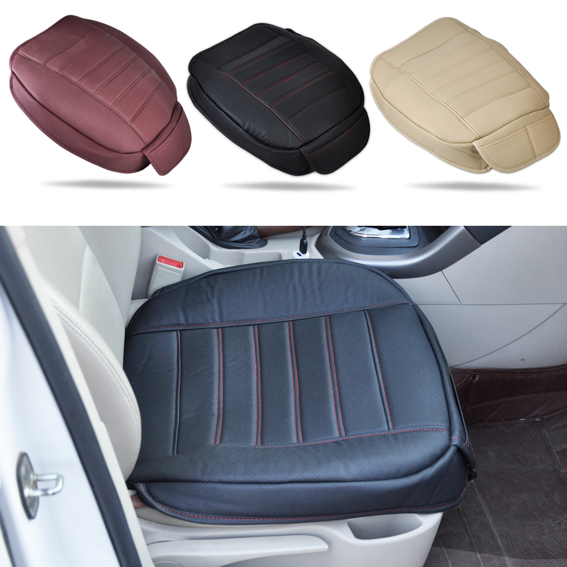 beler universal pu leather car interior front seat cushion cover seatpad mat for vw audi bmw. Black Bedroom Furniture Sets. Home Design Ideas