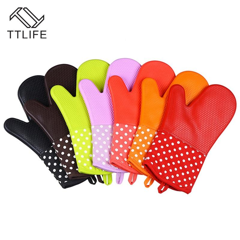 TTLIFE 1PC Cake Bakeware Heat Resistant Silicone Oven Glove Cooking Baking BBQ Oven Pot Holder Mitt Kitchen Accessories