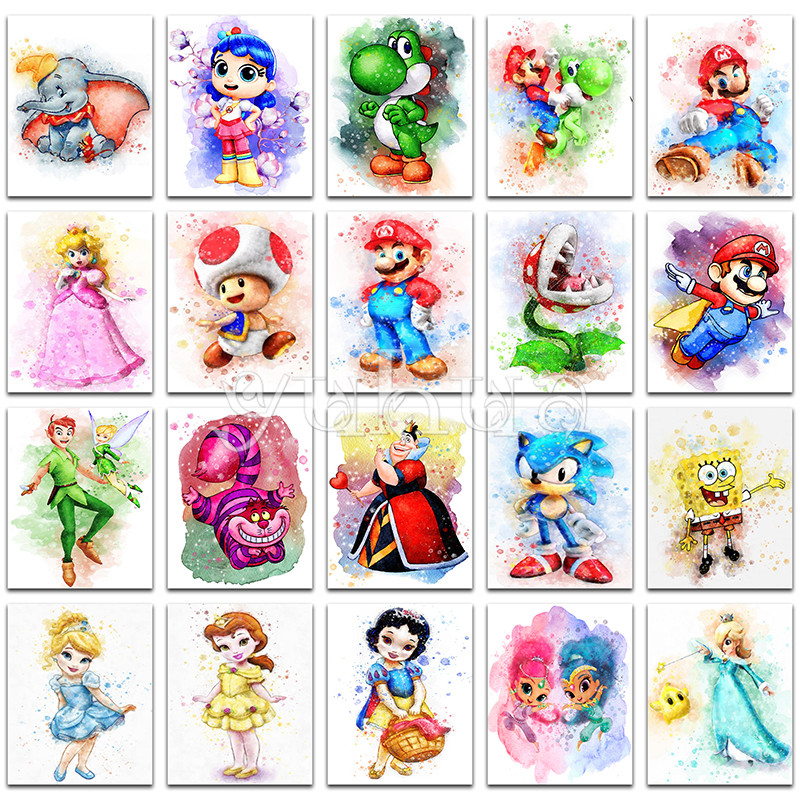 Diamond Embroidery Cross-Stitch Painting Disney Mario-Girl Full-Square Dumbo Cartoon
