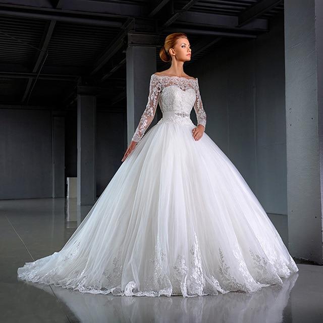 2016 moda elegante vestido de novia blanco fuera del hombro de