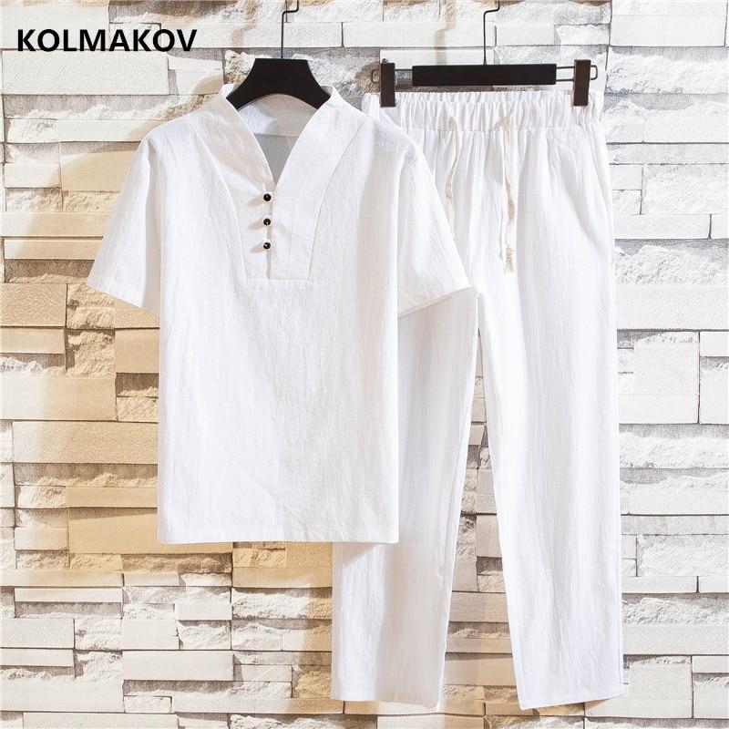 (Shirt + Trousers) 2020 Summer Fashion Men Shirt Man Cotton And Linen Shirts Short Sleeve Men's Casual Shirts Men Size M To 5XL