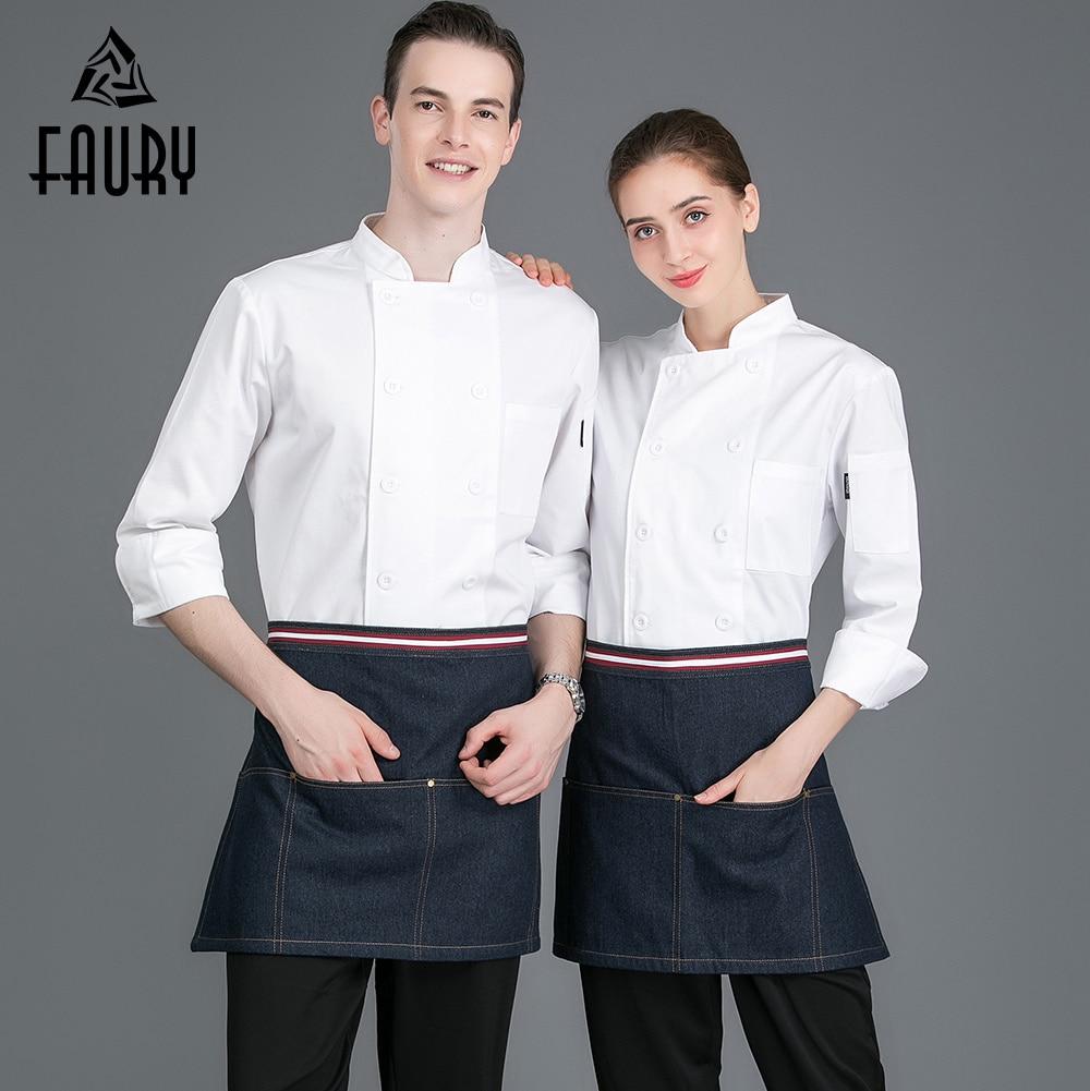 White Men Women Chef Long Sleeve Double Breasted Kitchen Cooking Workwear Jacket Restaurant Hotel Bar Waiter Barber Shop Uniform