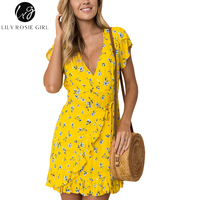 Lily Rosie Girl Sexy Wrap V Neck Floral Print Yellow Women Mini Dresses 2018 Summer Party