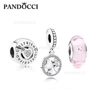 PANDOCCI 100% 925 Sterling Silver Valentine's Day Glamour Clover Charm Love Glass Bead Set Appropriate Gift for Girlfriend