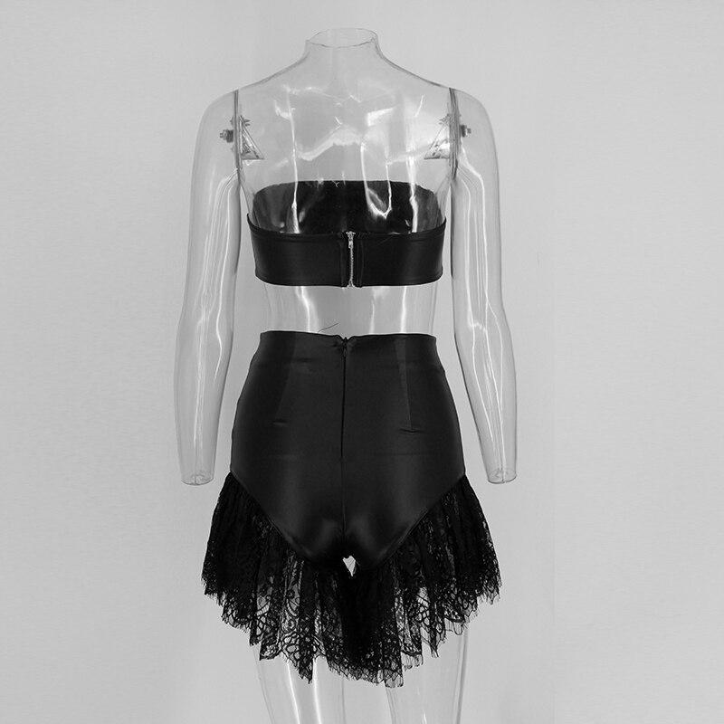 HTB1l8UJSpXXXXbFXpXXq6xXFXXXy - Women Two Piece Outfit Faux Leather Black Lace JKP123
