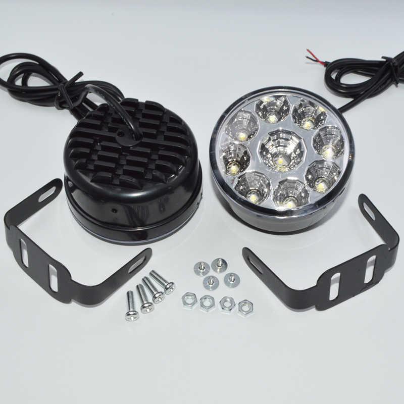 2pcs White 12V 9 LED DRL Round Daytime Running Light Car Fog light Driving Lamp for Truck SUV ATV Motorcycle Bike