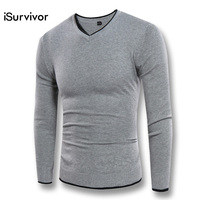 2017 ISurvivor Men V Neck Autumn Sweaters Pullovers Male Casual Fashion Fitness Large Size Solid Color