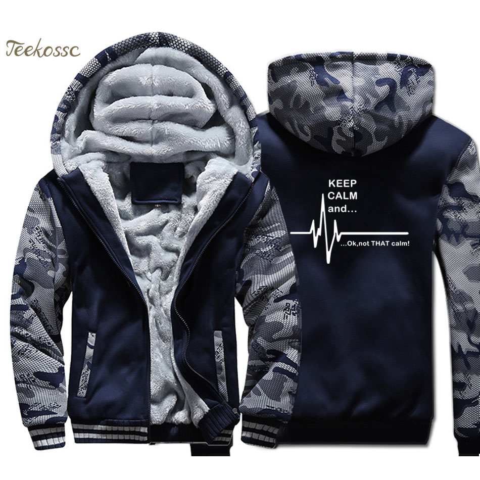 Keep Calm And...Not That Calm Ekg Heart Rate Hoodie Men Funny Sweatshirt Coat Winter Thick Fleece Warm Zipper Camouflage Jacket
