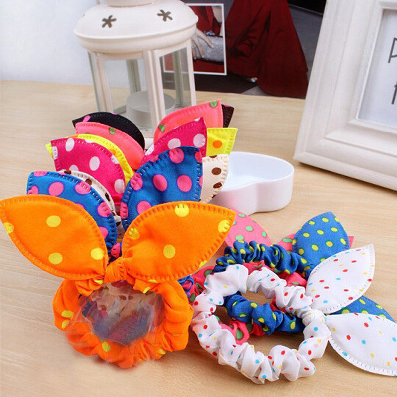 8Pcs/Lot Cute Women Flower Hair Elastic Rubber Bands Headbands Rabbit Ear Dot   Headwear   Elastic Hair Band Hair Ties Rope Scrunchy