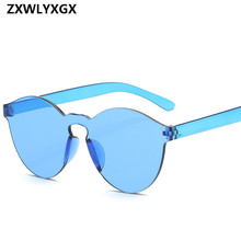 2018 New Fashion Women Occhiali da sole piatti Designer di marca di lusso Occhiali da sole Eyewear Candy Color Mirror UV400 oculos de sol