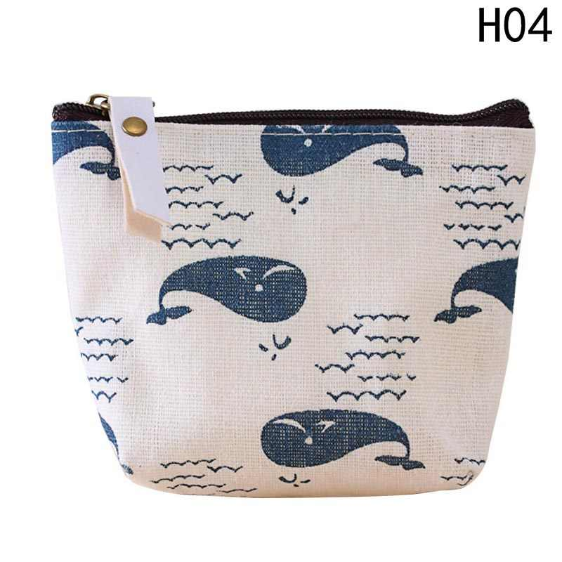 467dc5f9941a 2018 Mini Animal Printed Coin Pouch Vintage Small Fish Bear Tree Prints  Coin Purse Wallet Holder Zipper Canvas Coin Purse