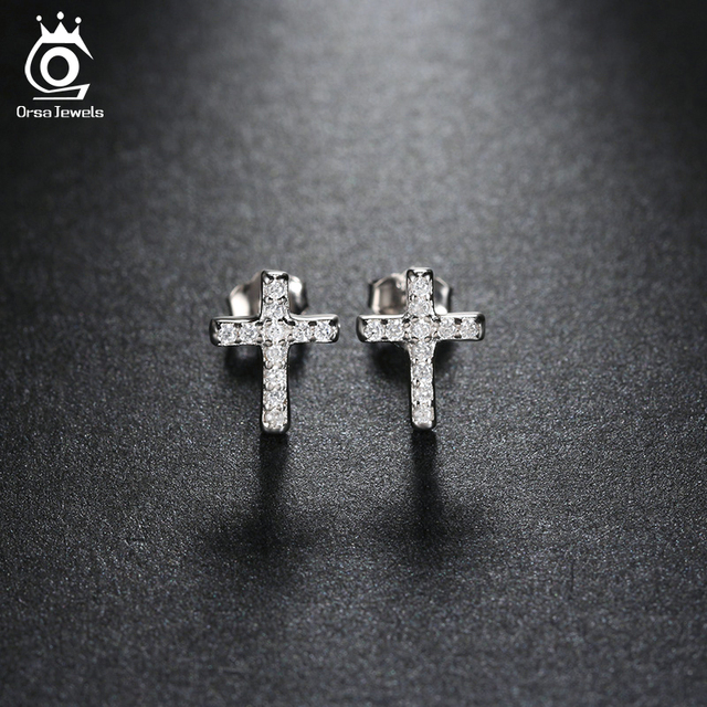 Vintage Small Rhinestone Cross Stud Earrings For Men Women Casual Jewelry Lover Oew132