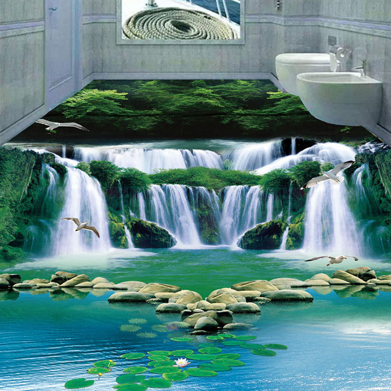 Custom 3D Murals Wallpaper Modern Waterfalls Forest Landscape Floor Tiles Painting Sticker Bathroom Kitchen PVC Wear Wall Papers