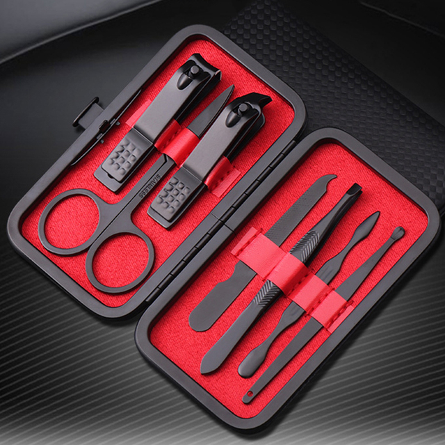 7pcs/set New Manicure Nail Clippers Pedicure Set Portable Travel Hygiene Kit Stainless Steel Nail Cutter Tool Set