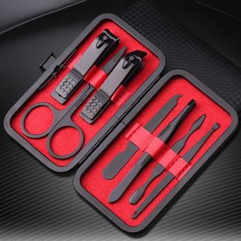 7 unids/set nuevo cortaúñas de manicura juego de pedicura Kit de higiene portátil de viaje juego de herramientas de corte de uñas de acero inoxidable