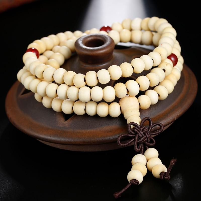 Image 2 - Natural Sandalwood Buddhist Buddha Prayer Bracelets Prayer Bead  Mala 108 Beaded 6mm Stretch Women Men Bracelets