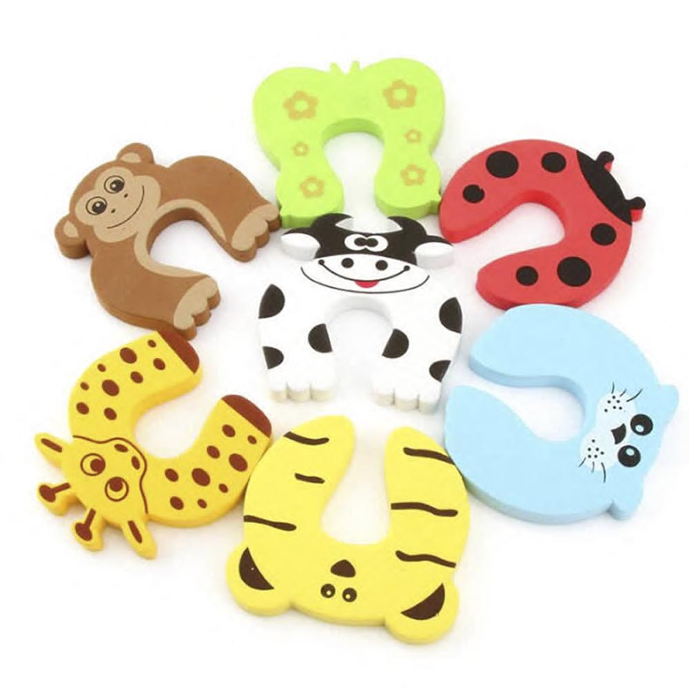 7Pcs/Lot Protection Baby Safety Cute Animal Security Door Stopper Baby Card Lock Newborn Care Child Finger Protector