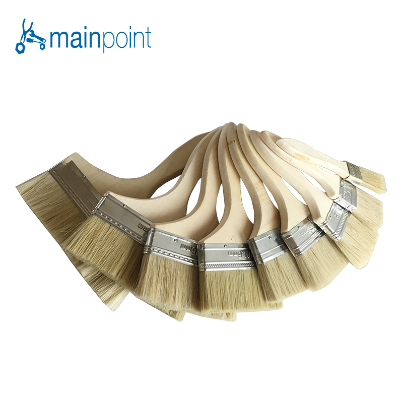 цена на Mainpoint 9Pcs Bristle Hair Wall Paint Brushes Wooden Handle Oil Drawing Sweep Brush Manual Cleaning Artist Painting Sets Tools