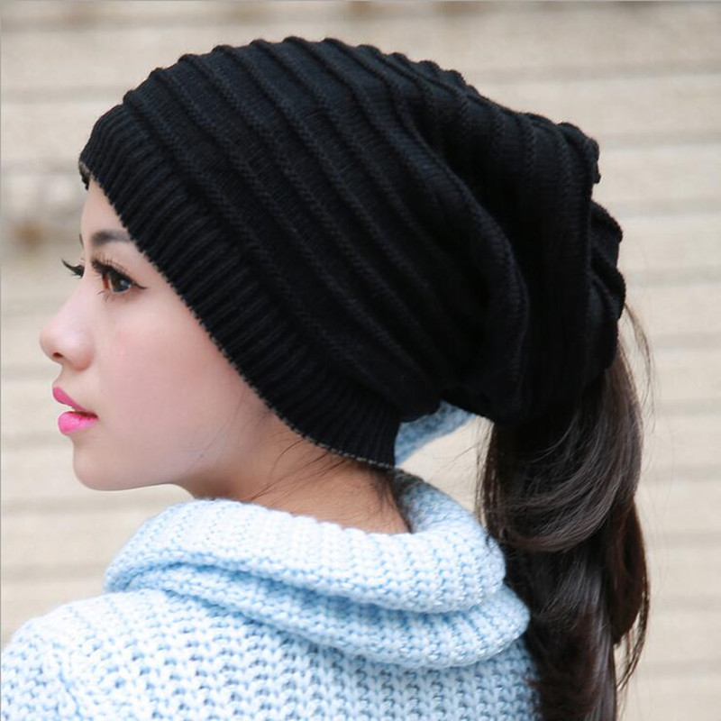 Spring and winter women's brim hat men and women general knit wool warm casual leisure slack loose Gorros solid color cap gift zlyc women winter wool felt wide brim fedora bowler hat floppy cloche bowknot cap
