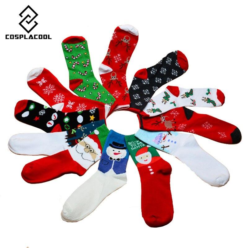 cosplacool merry christmas algodn casual calcetines de santa copo de nieve ciervos impresa