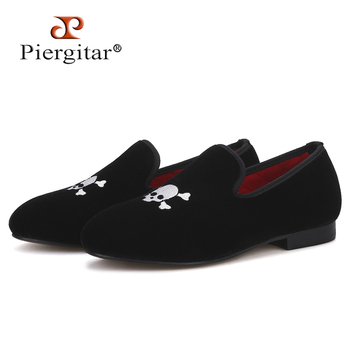 Piergitar 2019 New Handmade Children Velvet Shoes with Skull embroidery comfortably insole Party and birthday Children's Loafers