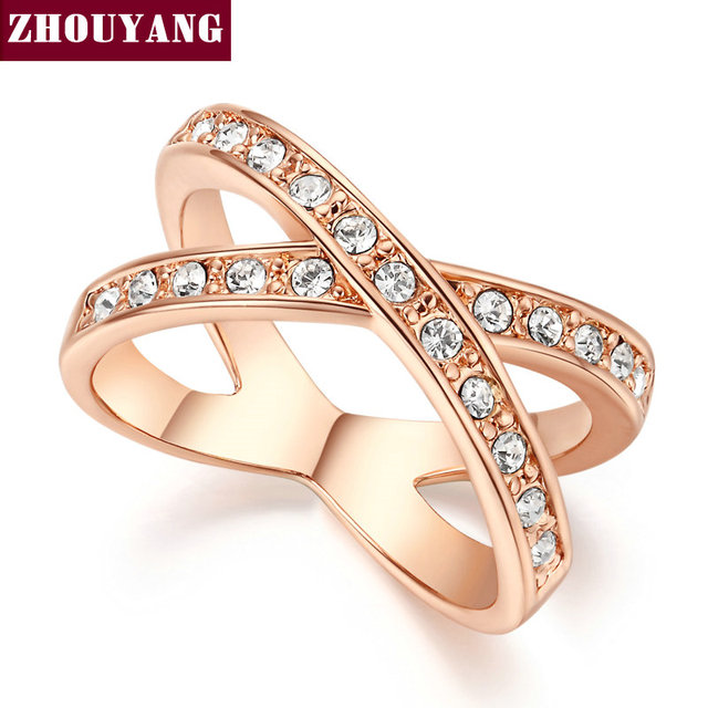 Top Quality ZYR046 Two Rounds Rose Gold Color Ring Jewelry Austrian Crystals Who