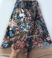 Scrawl Embroidery French Lace African Tulle Fabric With 2 Tunes Sequins