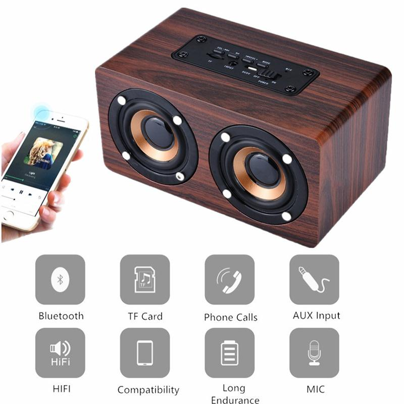 MVpower W5 Bluetooth Wireless Dual Speaker Retro Classic Wood Hifi Mini Sound box Aux Wooden Music Speakers tf card usb drive