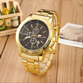Men Watches 2016 New Gold Stainless Steel Watch Analog Quartz Movement Wrist Watches Relojes hombre 2016 Free shipping Feida