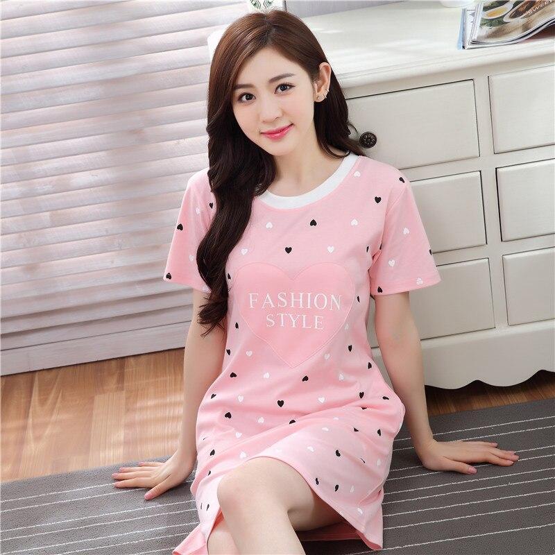 Casual 100 Cotton Nightgown Female Summer Cartoon Women Short Sleeve Sleepwear Neck Size