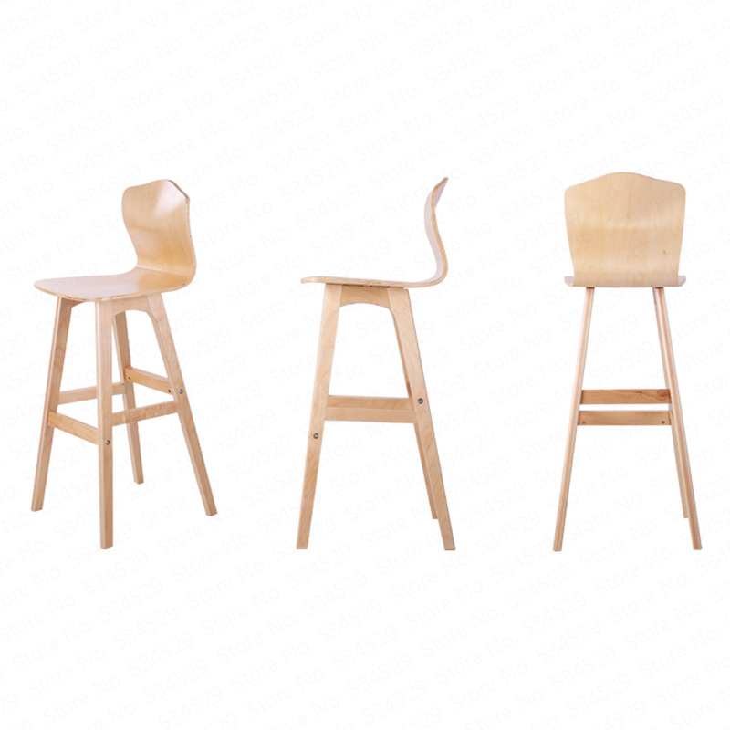 B Solid Wood Bar Stool Nordic Creative High Back Chair Bar High Stool Dining Chair High Chair Modern Minimalist Front Bar Chair