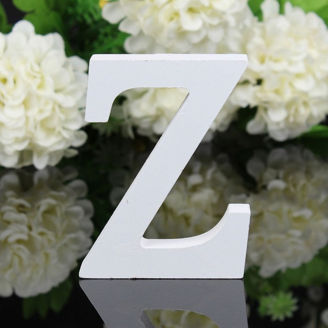 Home Decor Decoration thick Wood Wooden White Letters Alphabet Wedding Birthday 8cmX1.2cm Drop Shipping 5