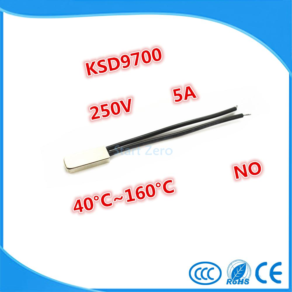 2PCS KSD9700 250V 5A Bimetal Disc Temperature Switch N/O Thermostat Thermal Protector 40~135 degree centigrade 10pcs ksd301 92 celsius temperature switch bimetal disc thermostat nc