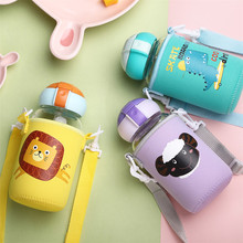 ONEISALL Children Glass Water Bottle BPA Free Plastic Straw Cartoon Cute Kids Kettle Portable Sports Eco-friendly