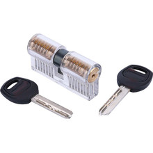 Transparent AB Practice Lock Double Row Of 7 Pins Cutaway Visible Cylinder Lock Pick Set(China)