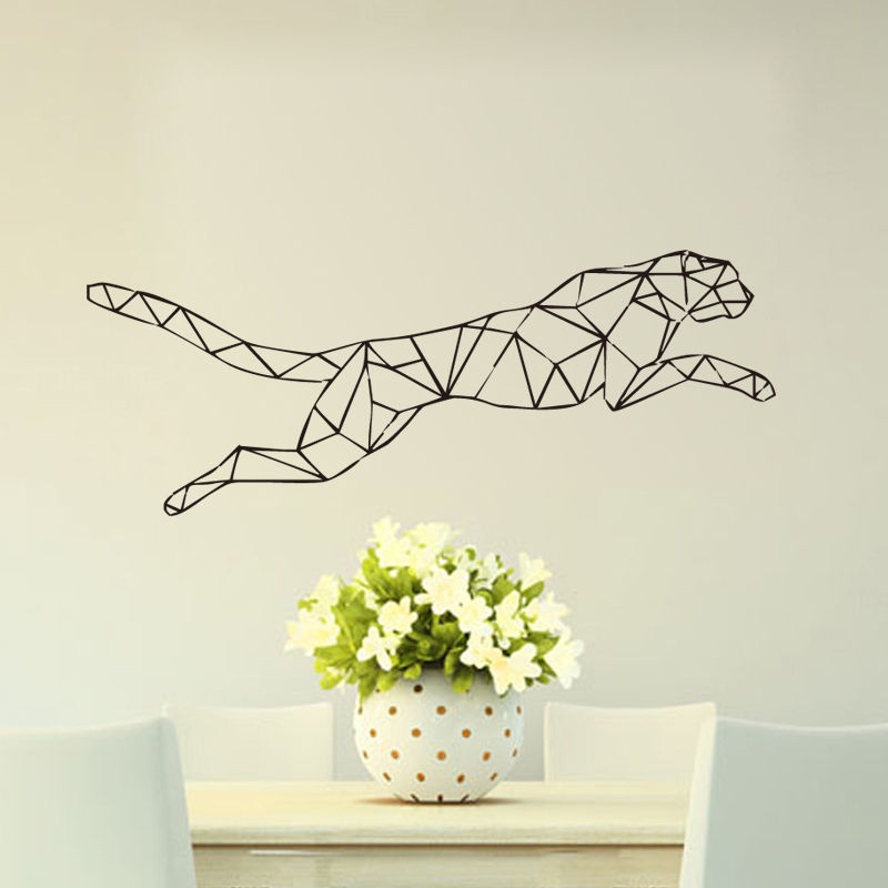 Geometrisk Jaguar-klistremerke som kjører Leopard Home Decor Kids Bedroom Art Decal Gratis frakt