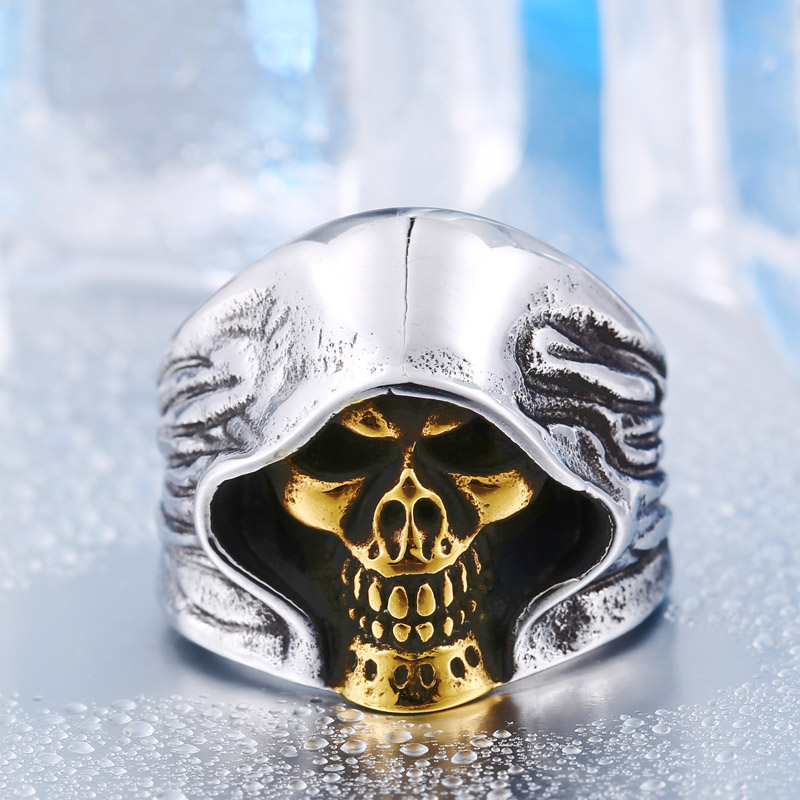 cb0612760d84c2 Rings For Men's Jewelry Stainless Steel 4 Color Cool Hell Death Skull Man  Punk Biker High Quality Party Ring Men BR8-156