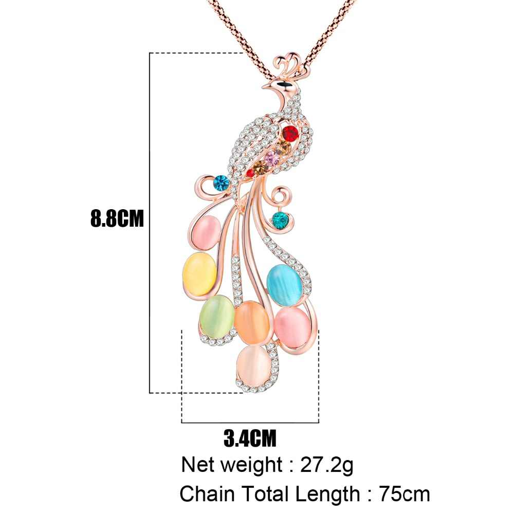 Bonsny Pavo Real collar largo colgante marca cadena de cristal nuevo 2017 aleación de Zinc chica mujeres moda joyería declaración Accesorios
