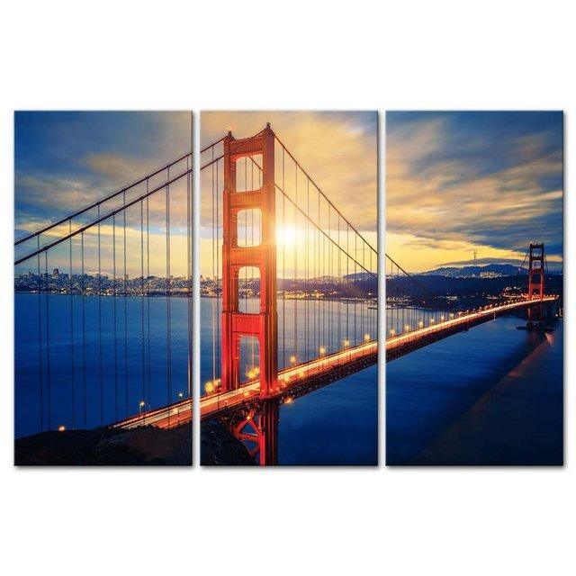 3 Pieces Modern Canvas Painting Wall Art Famous Golden Gate Bridge At Sunrise San Francisco Cityscape