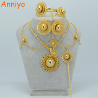 Big Size Heavy Ethiopian Gold Jewelry Sets Pendant Necklace Earrings Ring Hair Pin Forehead Bangle Habesha